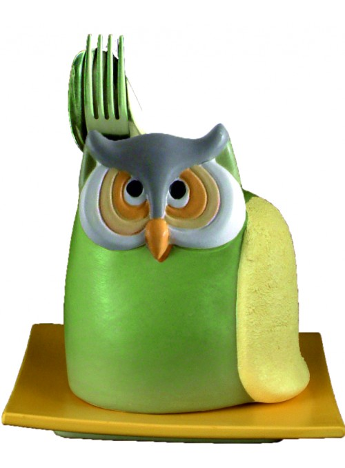 Hand-painted ceramic owl cutlery drainer