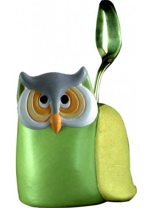 Hand-painted ceramic owl cutlery basket
