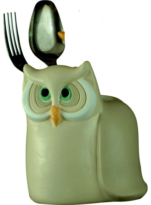 Hand-painted ceramic owl cutlery basket