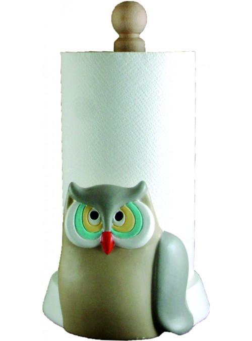 Hand-painted ceramic owl roll holder