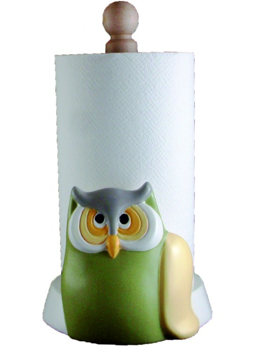 Hand-painted ceramic owl roll holder