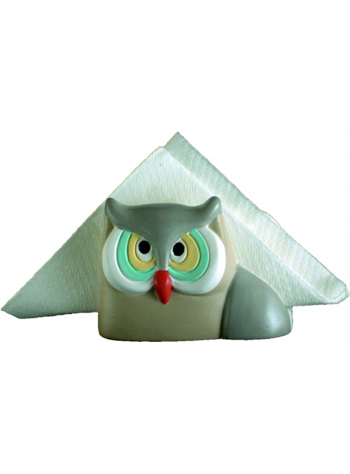 Hand-painted ceramic owl napkin holder