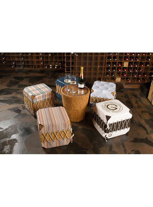 Squared pouf in cork and pvc - Dado Broccato