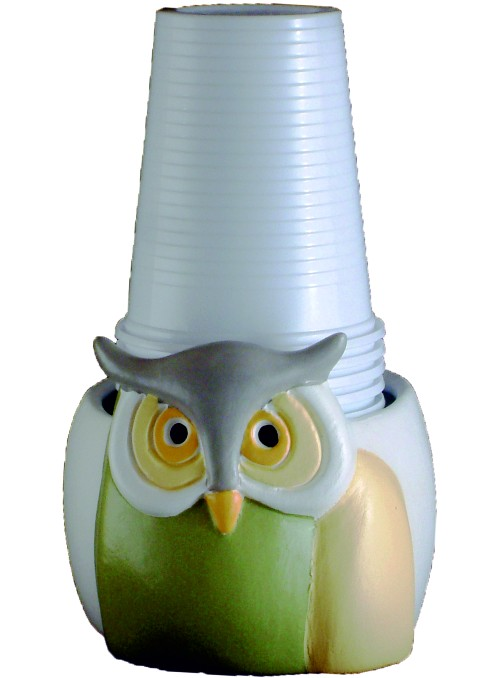 Hand-painted ceramic owl cup holder