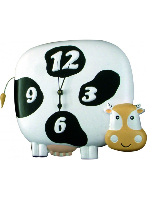 Hand-painted ceramic cow clock