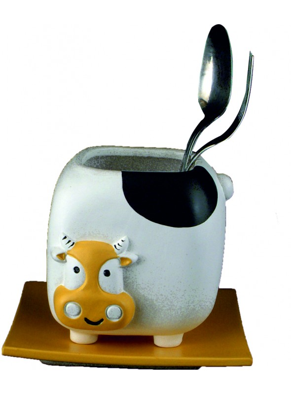 Hand-painted ceramic cow cutlery drainer