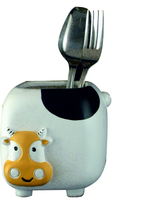 Hand-painted ceramic cow cutlery basket