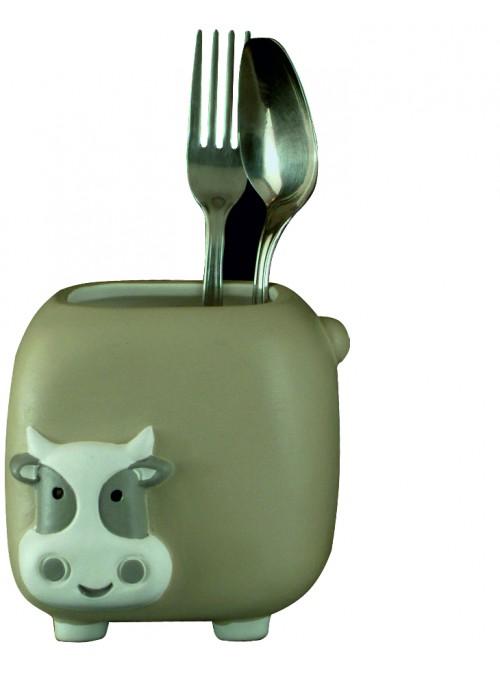 Portaposate mucca in ceramica colorata a mano