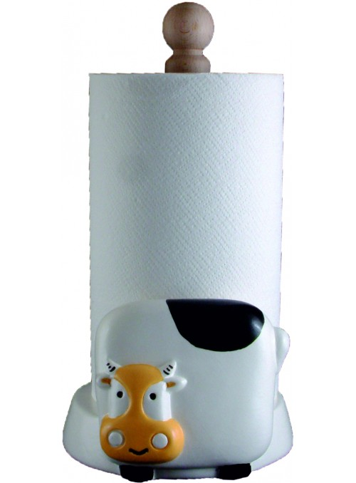Hand-painted ceramic cow roll holder