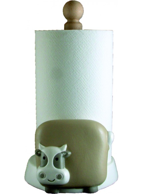 Portarotolo mucca in ceramica colorata a mano
