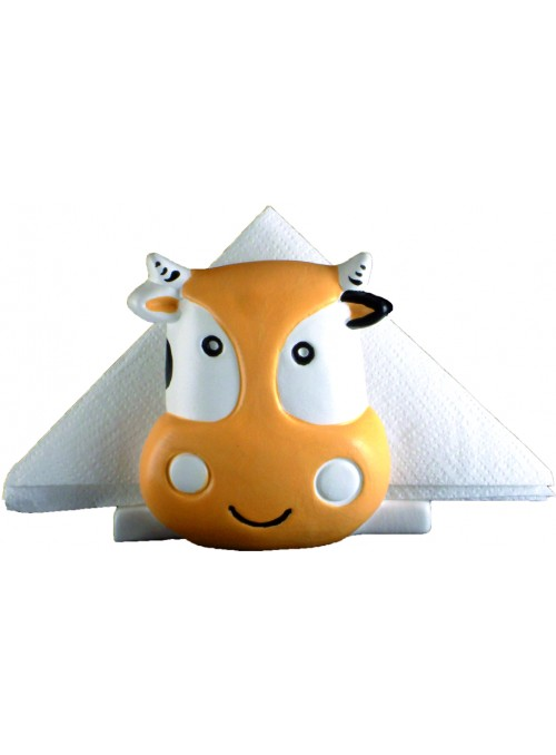Hand-painted ceramic cow napkin holder