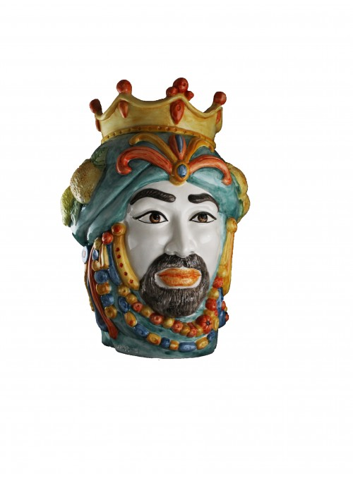 Hand-painted ceramic man's head - I Mori