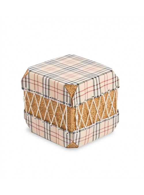 Squared pouf in cork and pvc - Dado Scozzese
