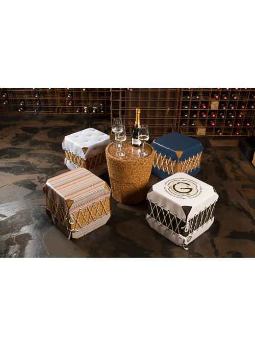 Squared pouf in cork and pvc - Dado Scozzese
