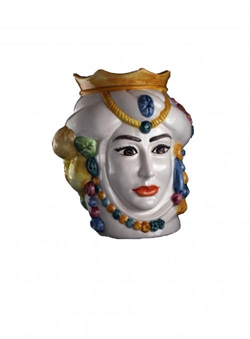 Testa di donna in ceramica colorata a mano - I Mori