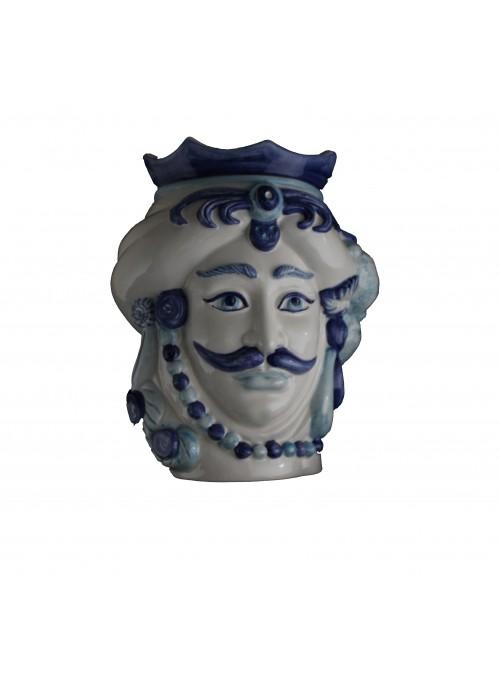 Testa di moro in ceramica bianca e blu - I Mori