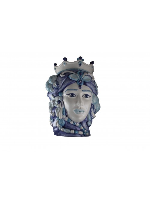 Hand-painted white and blue ceramic woman's head - I Mori