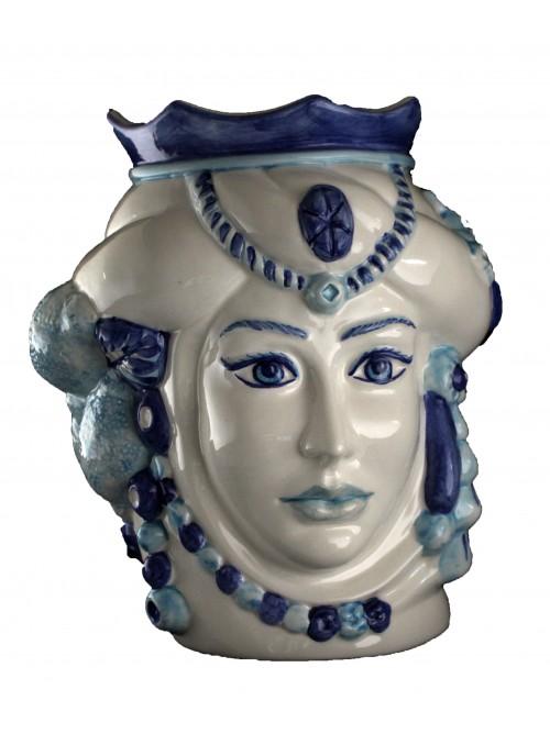 Testa di donna in ceramica bianca e blu - I Mori