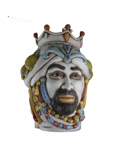 Hand-painted antiqued ceramic man's head - I Mori