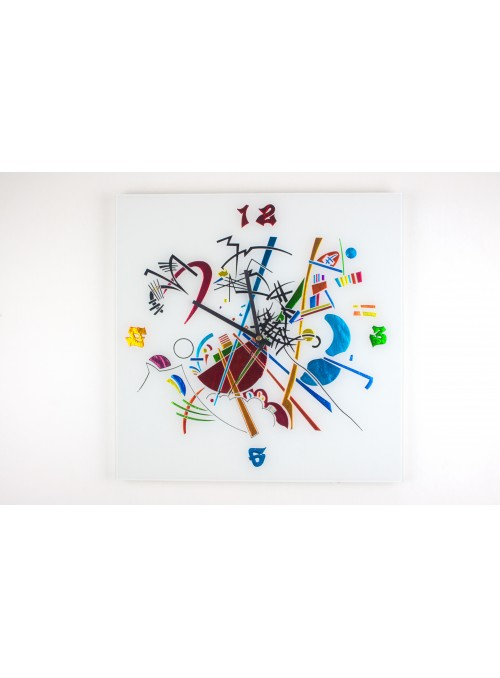 Glass artistic clock - Kandinskij time big
