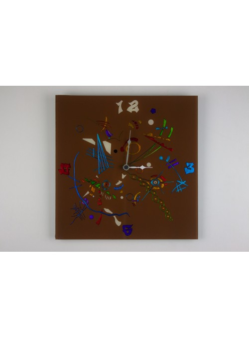 Brown glass artistic clock - Composizione two