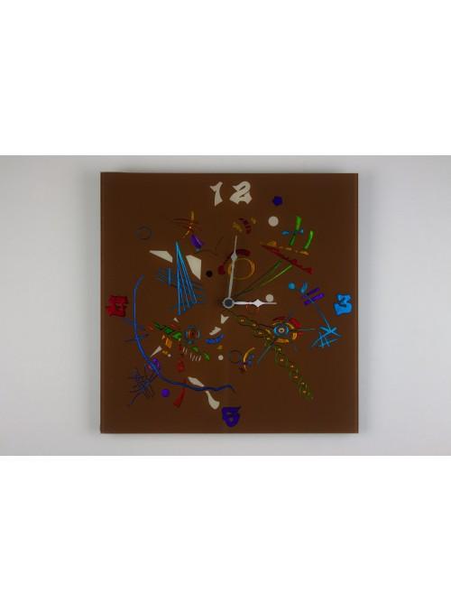 Brown glass artistic clock - Composizione two