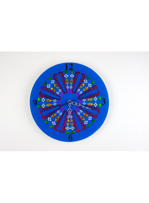 Blue rounded glass clock - Mandala