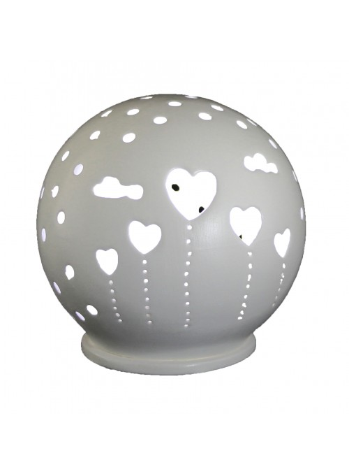 Rounded ceramic mini lamp - Cuori