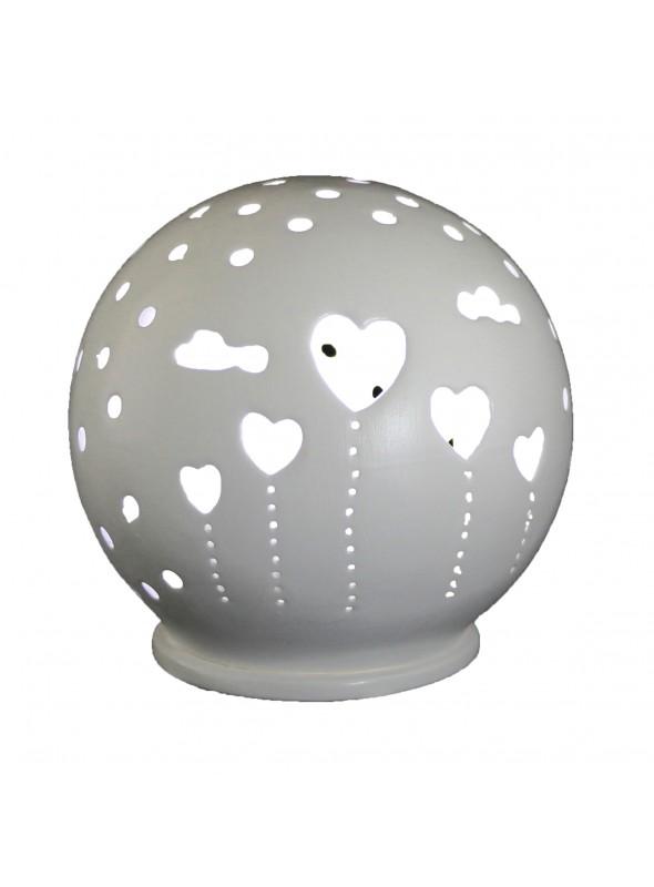 Lampada mini sfera in ceramica - Cuori