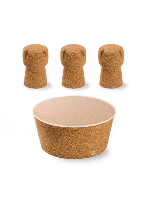 Set tavolino Japan e tre sgabelli Corkpouf
