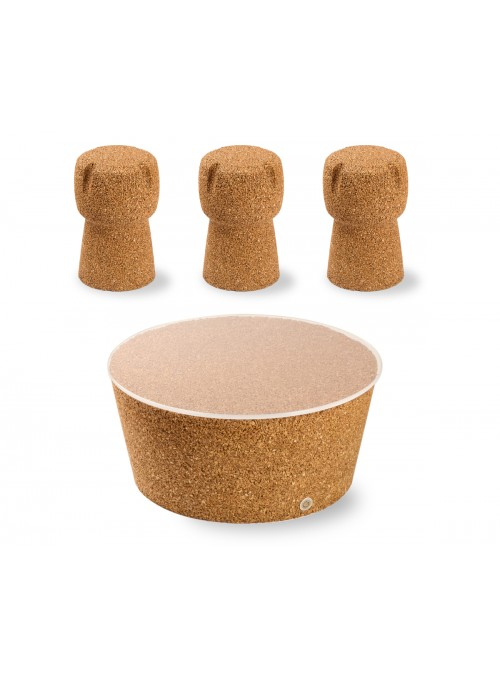 Japan table and three Corkpouf stools set