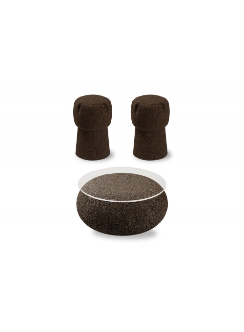 Nepal table and two Corkpouf stools set