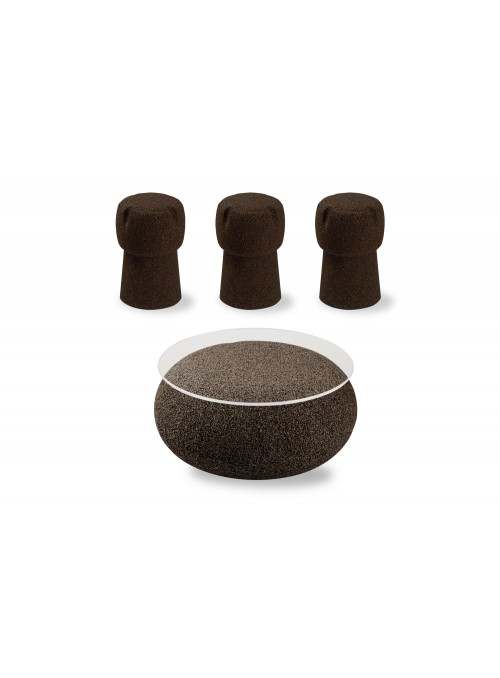 Nepal table and three Corkpouf stools set