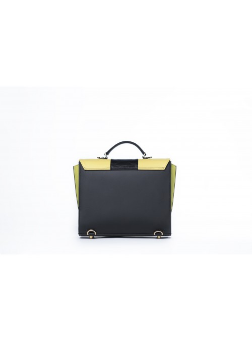 Medium bag in faux leather and cork - Max Bighty Yellow