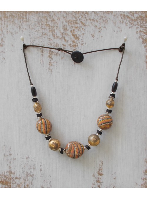 Ceramic necklace with neriage and gold