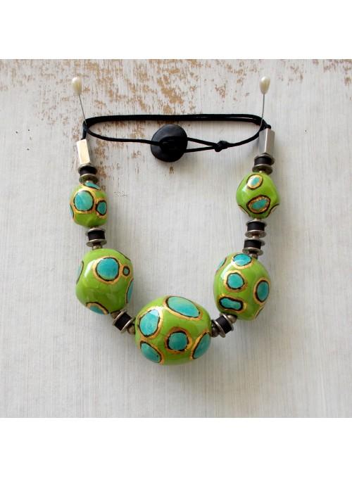 Collana in ceramica verde e azzurra