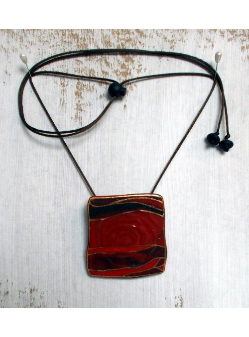 Necklace with red ceramic small plate