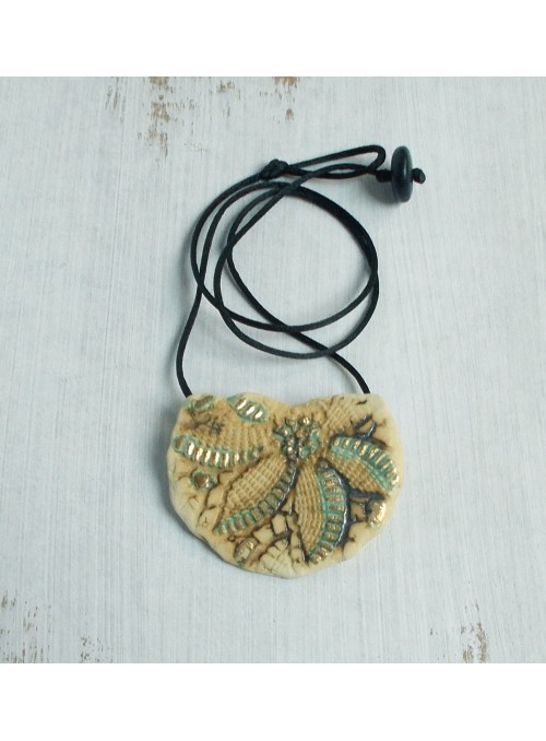 Necklace with heart shaped ceramic small plate