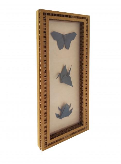 Teca con tre origami a forma di animali - San