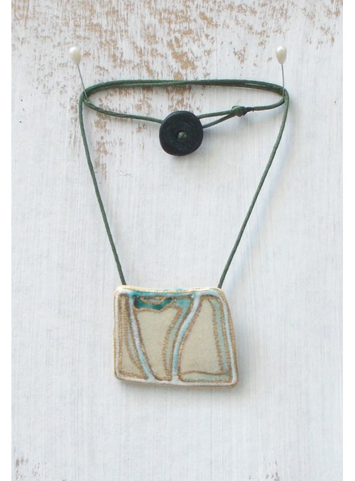 Necklace with asymmetrical ceramic small plate