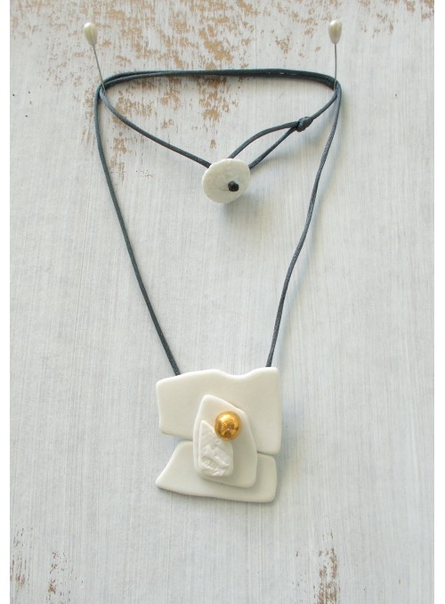 Necklace with white porcelain pendant