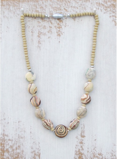 Necklace with clay and glass beads