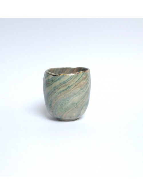 Cup in neriage ceramic and gold edge