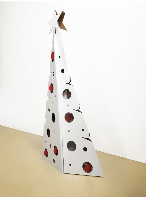 White corrugated cardboard Christmas tree