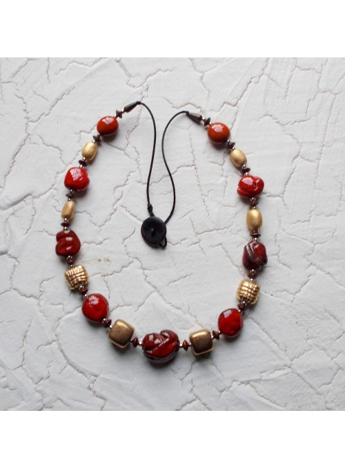 Necklace with ceramic, iron and wood beads