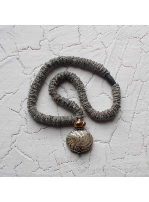 Necklace with one big bead and cloth string