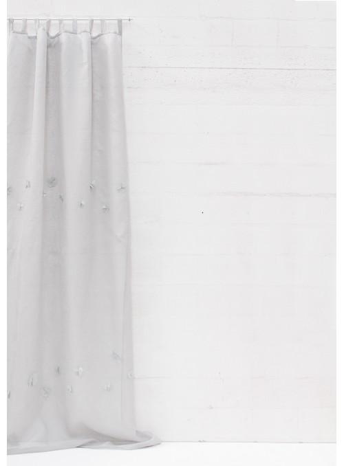 Tenda in garza di lino con decorazioni - Fiori di lino