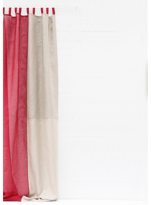 Courtain in two colours linen with loops - Quadranti