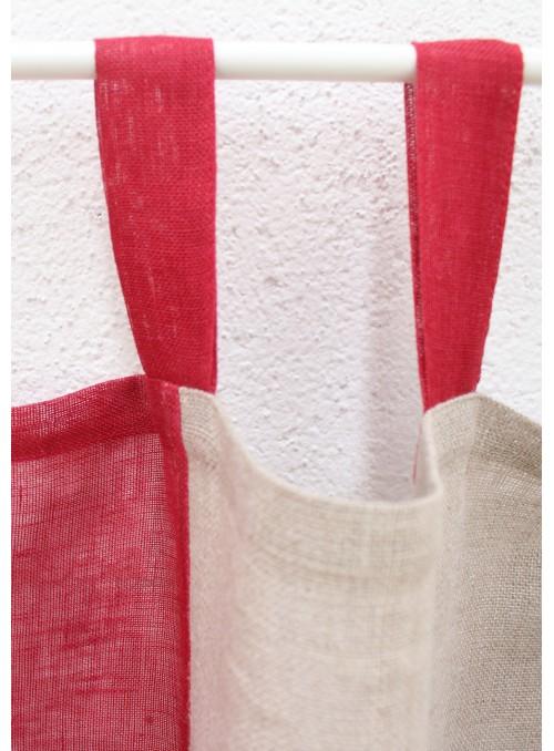 Tenda in lino due colori con passanti - Quadranti