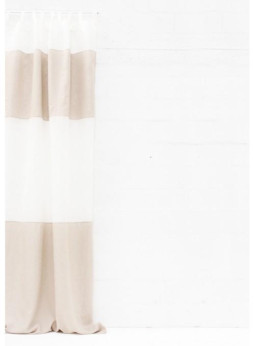 Tenda in lino due colori con passanti - Righe